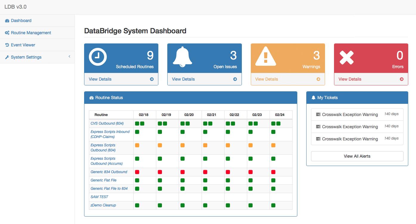 DataBridge Dashboard Page