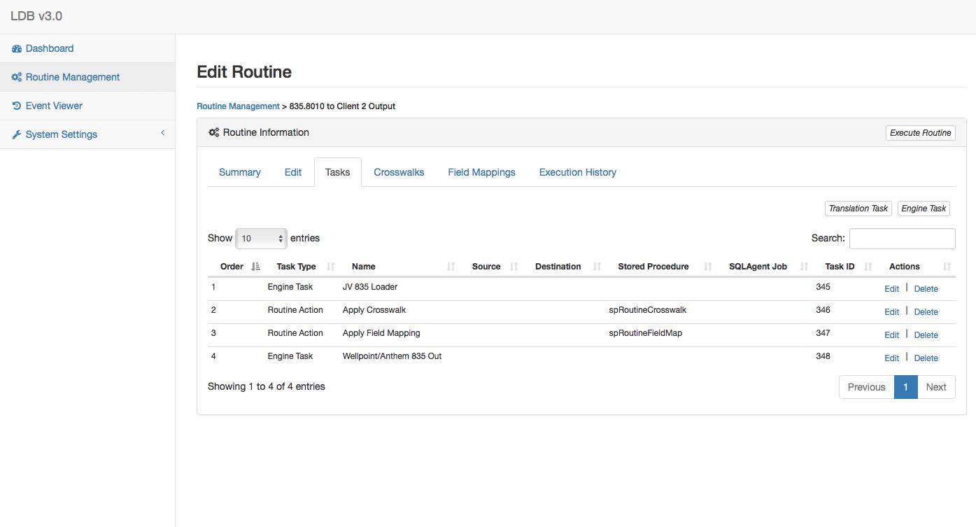 DataBridge Routine Management Page